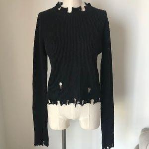 [LF] Distressed Black Knit Sweater Top